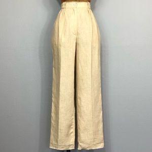 Vintage 90s Linen Pleated High Waist Trouser Pants